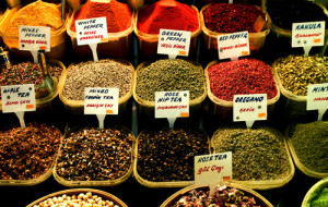 Selection of spices . The Spice Bazaar , Istanbul , Turkey